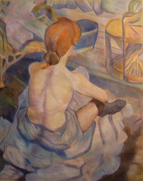 """""""Die Toilette"""" Bleistift auf Papier, Studie zu Toulouse Lautrec(2002 ?)"""