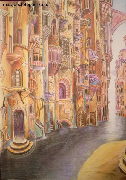 """""""Zwischen Venedig und Barcelona"""" Bleistift auf Papier, Studie zuAntoni Gaudí (2003)"""