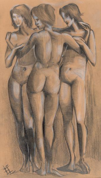 """""""Drei Grazien""""Bleistift auf Papier, Studie (2004)"""