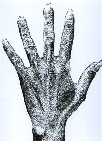 """""""Meine Hand""""Bleistift auf Papier, Studie (2004)"""